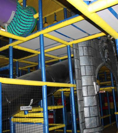 Inside soft play frame at Playtowers in Boston