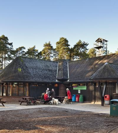Outdoor picnic tables at The Look Out Discovery Centre in Bracknell