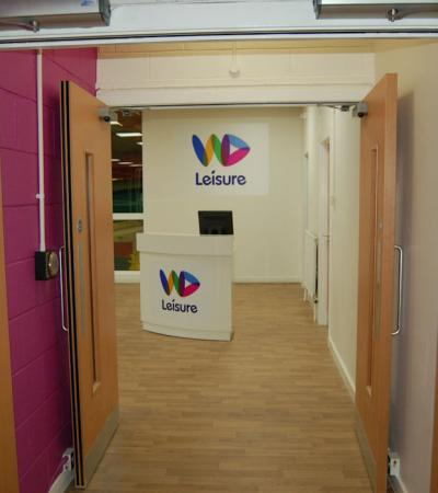 Entrance to The Meadow Leisure Centre in Dumbarton
