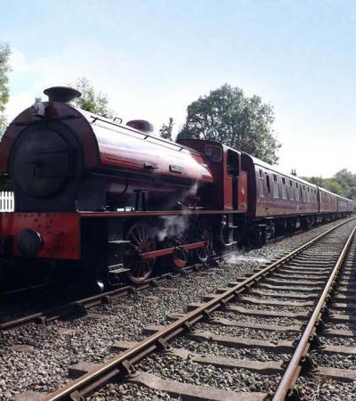 Steam train at Battlefield Line Railway in Shackerstone