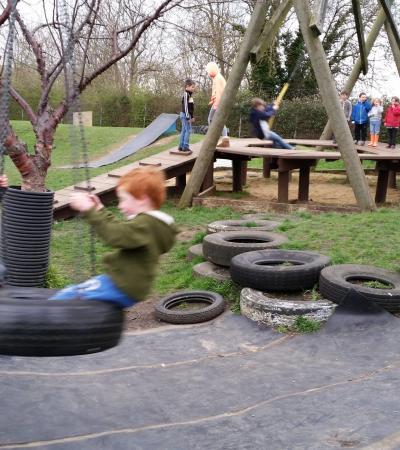 Kids on playground at New Ark Adventure Playground in Peterborough