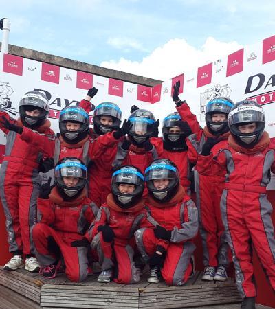 Kids in racing outfits at Daytona at Milton Keynes