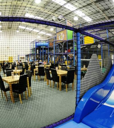 Slide and cafe area at Treasure Chest Soft Play Centre in Crawley