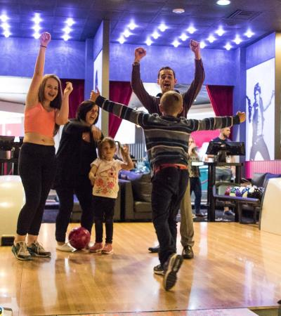 Family bowling at Hollywood Bowl in Milton Keynes