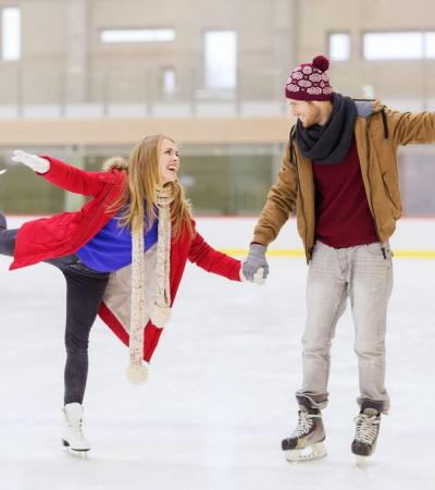 Couple ice skating at Silver Blades Ice Rink Gillingham