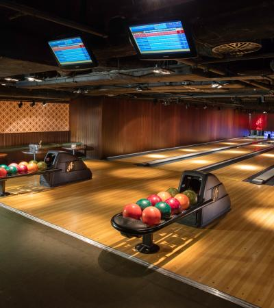 Bowling lanes at All Star Lanes Westfield Stratford City