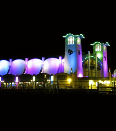 Outside view of Wellington Bowl at night on Wellington Pier