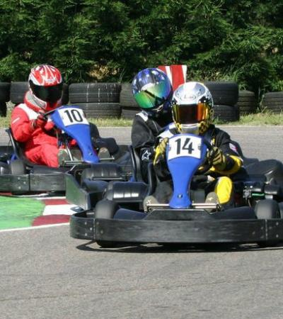 People go kart racing at Brentwood Karting