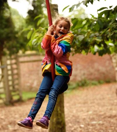 Girl on zipwire at Clumber Park