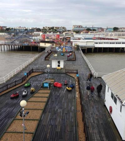 Aerial view of Seaquarium at Clacton Pier in Clacton on Sea