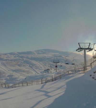 Ski lifts at Glenshee Ski Centre in Braemar