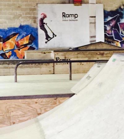 Boy on scooter at Rampnation Indoor Skatepark in Devizes