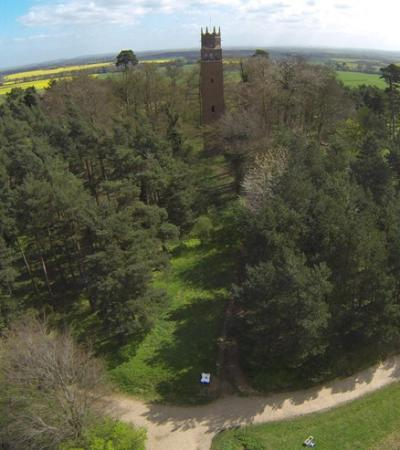 Aerial view of Faringdon Folly Tower and Woodland