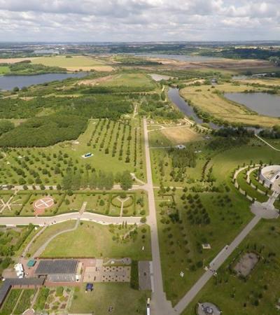 Aerial view of landscape of The National Memorial Arboretum in Burton on Trent