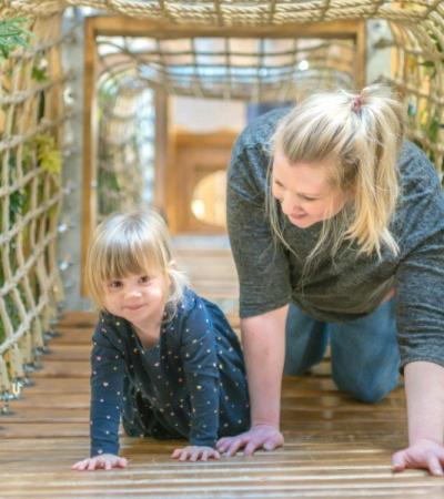 A little girl and her Mum at Pensthorpe Natural Park in Norfolk