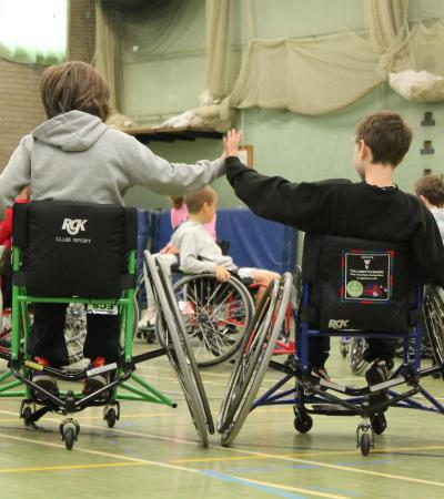Wheelchair basketball players at Lea Green Centre in Matlock