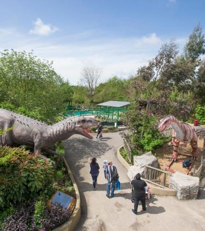 Overhead view of Land of the Living Dinosaurs at Gulliver's Dinosaur & Farm Park