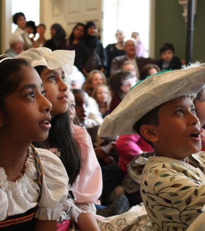 Kids in costumes at The Foundling Museum in Greater London