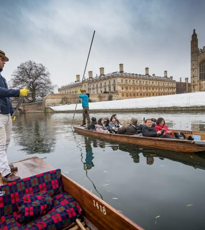 Punting in the snow at Scholars Punting Cambridge