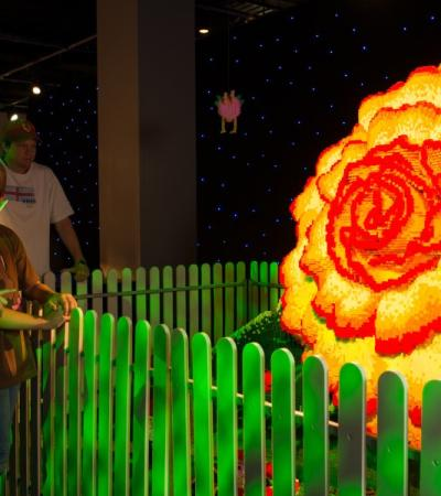 A flower made of lego at Brickman Exhibition