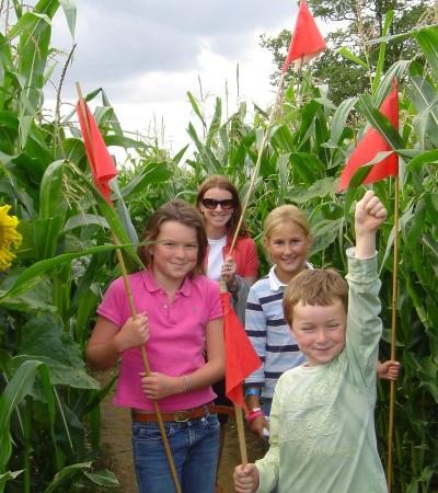 Family in maze at Wistow Maze