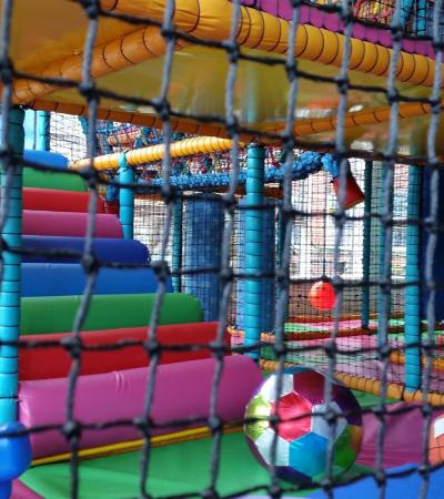 Inside soft play frame at Chucklebutties in Belper