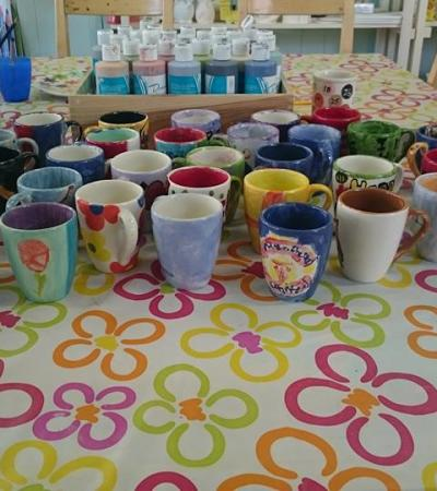Painted cups at Paint a Pot Place in Bourne