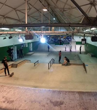 People skating at Pioneer Skatepark in St Albans