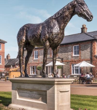 A horse statue at Palace House in Newmarket
