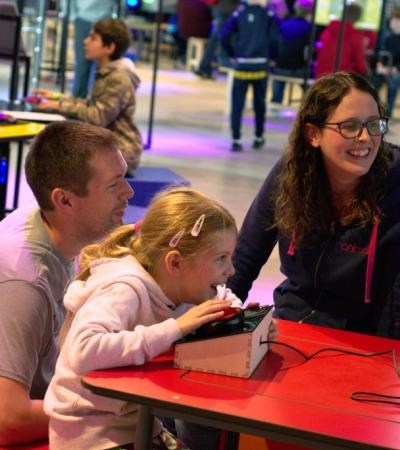 A family playing games at The National Videogame Museum