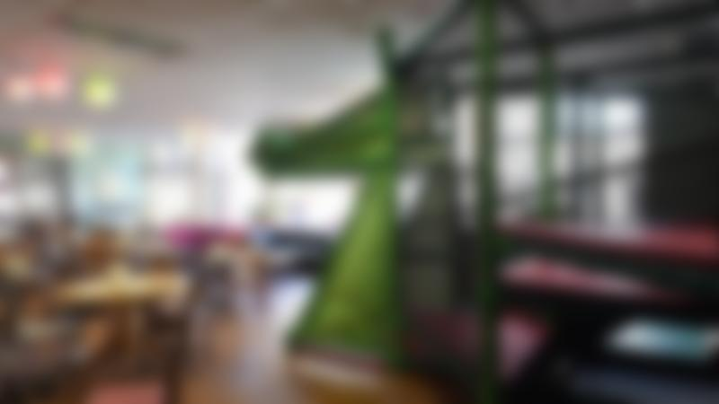 Indoor soft play frame and seating area at Jabberwocky Soft Play and Cafe in Haddington