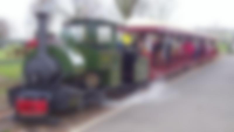 Families on train at Ferry Meadows Railway in Peterborough