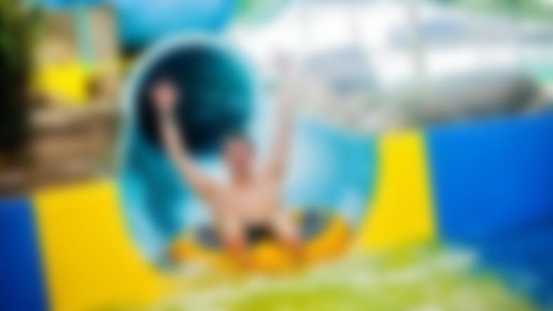 Boy on slide at Wet N Wild in North Shields