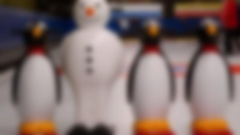 Penguin and snowman skaters at Lockerbie Ice Rink
