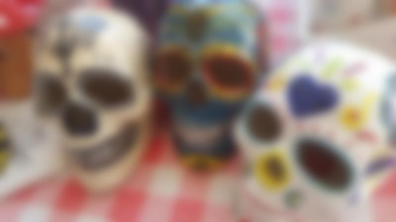 Day of the Dead pottery at Salt Pots Ceramic Studio in Saltaire