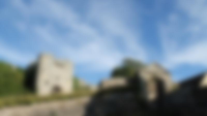 Outside view of Carisbrooke Castle in Newport