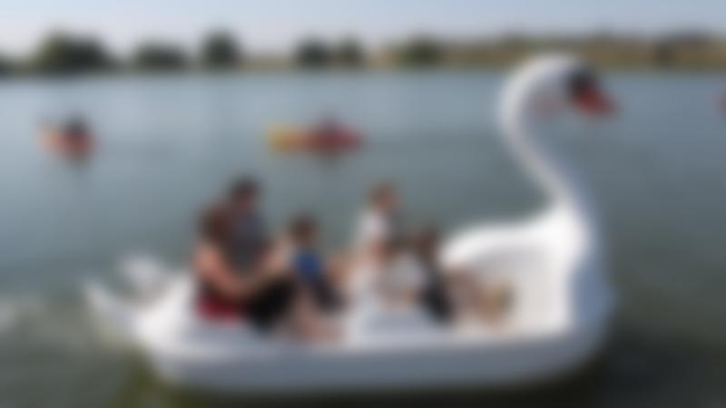 Family on pedal boat at Ferry Meadows Country Park in Peterborough
