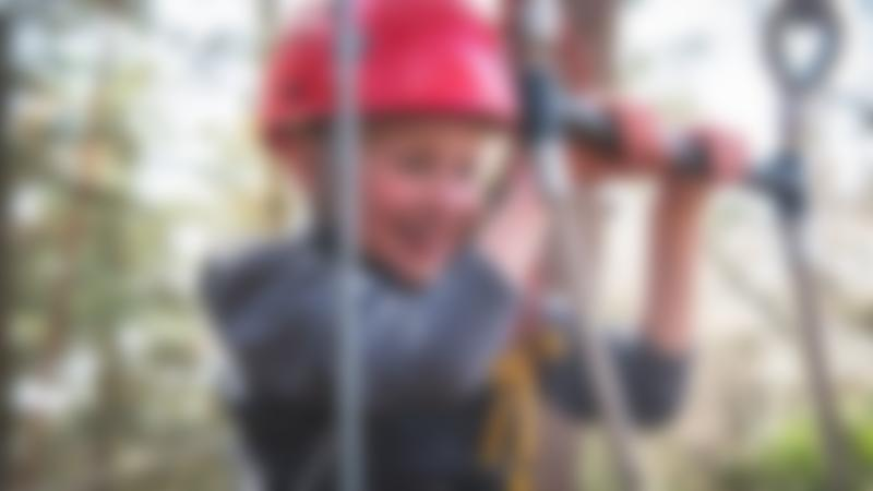 Young happy boy on a ropes course