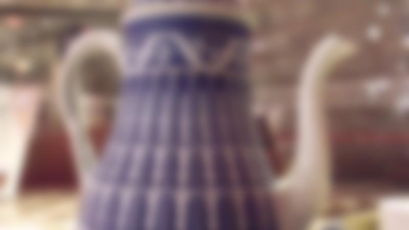A pottery teapot at the Dudson Museum