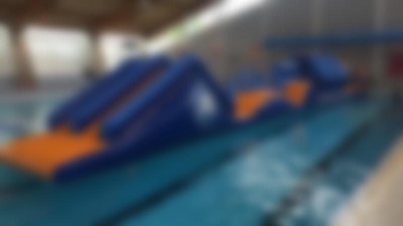 Inflatable course on pool at Aqua Vale Swimming and Fitness Centre in Aylesbury