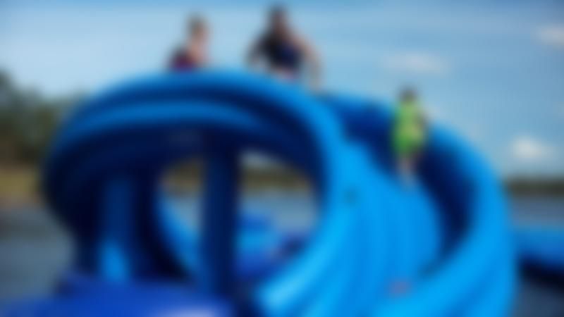 Family on slide at Southlake Aqua Park in St Neots