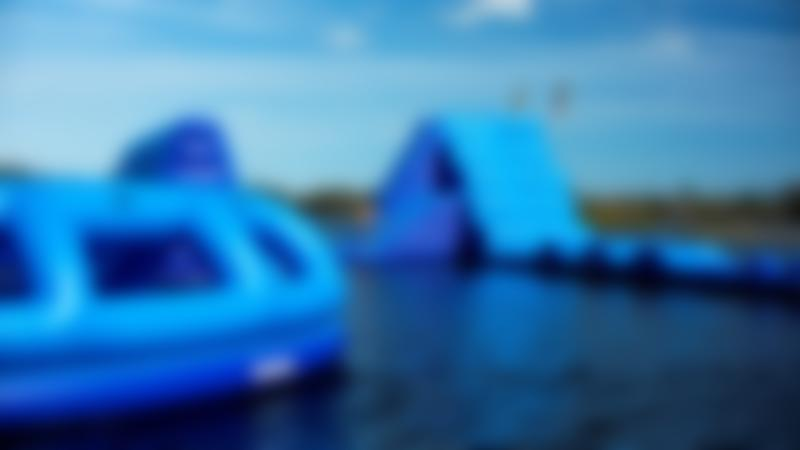 Inflatable course at Southlake Aqua Park in St Neots