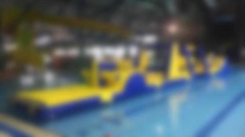 Inflatable course on swimming pool at Funtasia Felixstowe