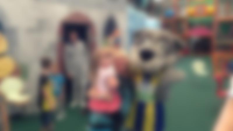 Family and mascot at Fun2B in Warrington
