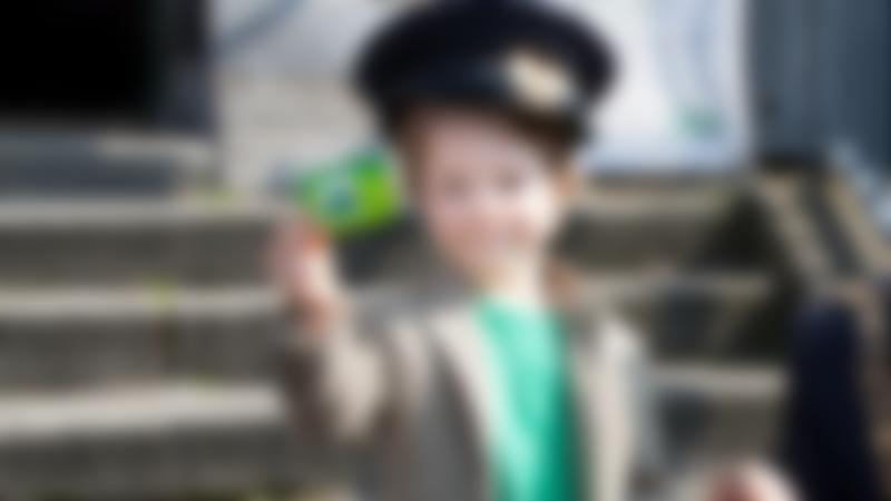 Boy with tour card at Dublin Bus Tour