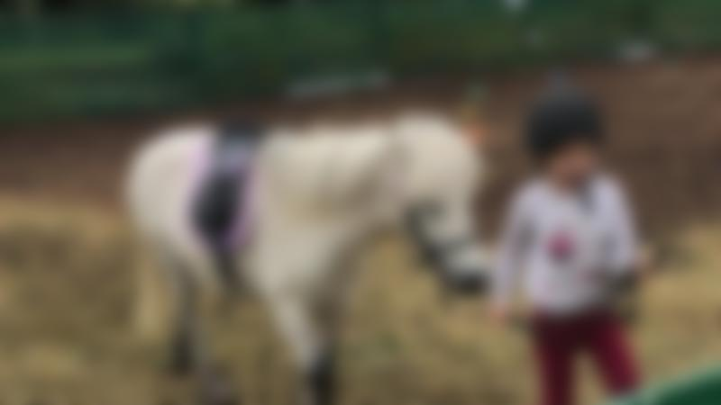 Girl with pony at Happy Hooves Stables in Bedford