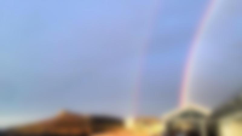 Double rainbow at Porthmeor Beach in St Ives