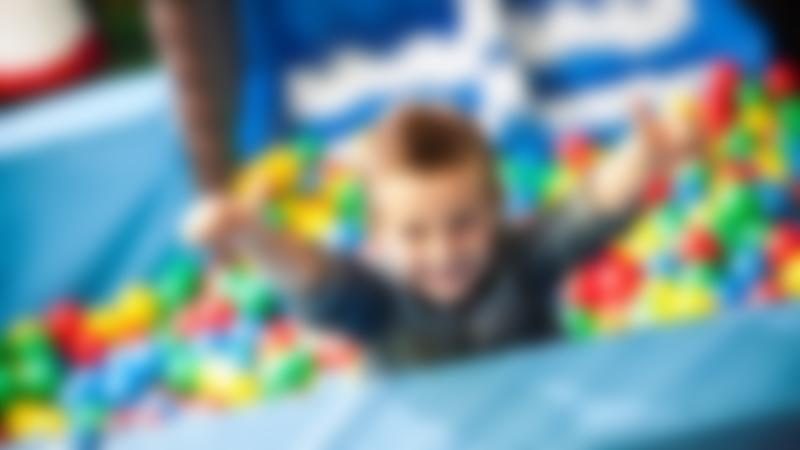 Boy in ball pit at Wacky Warehouse - Stanley Ferry Marina in Wakefield