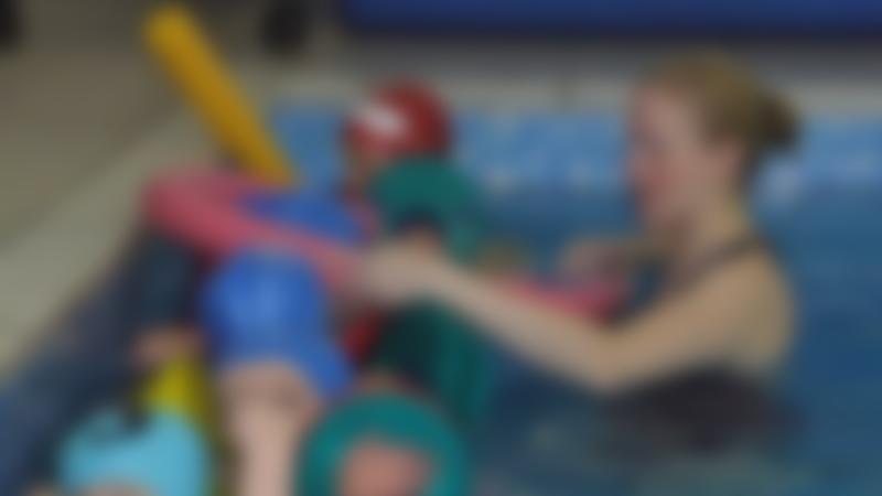 Kids in swimming lesson at Splash at Riverside in Blackburn