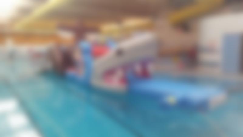 Inflatable obstacle course at Knaresborough Pool in Harrogate